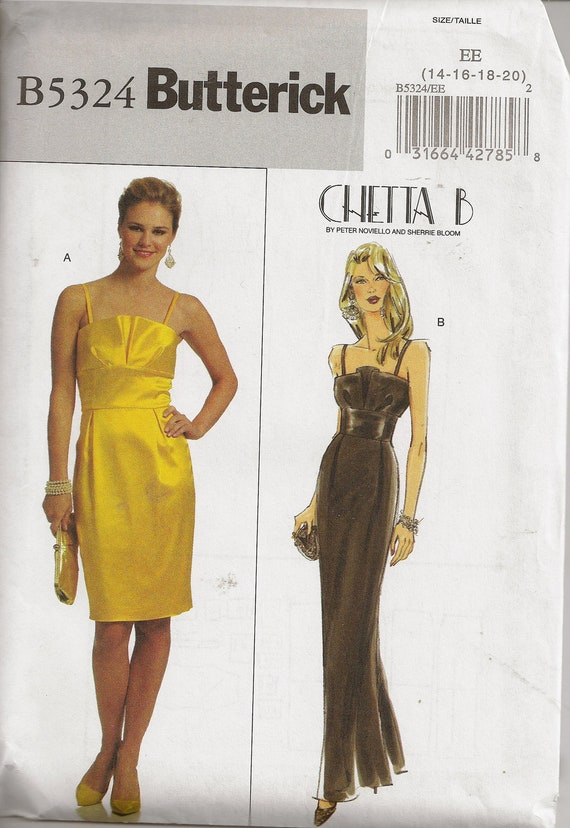 Butterick B5324 Sewing Pattern, Misses Evening Dress, Size 14 to 20, OOP