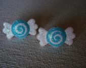 Blue Glitter Candy Earrings