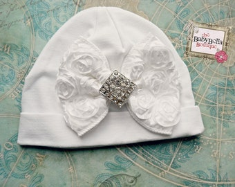 French shabby Hat/Baby Girl WHITE  Rosette Bow ,Infant Cotton beanie,Baby hat