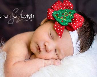 BABY CHRISTMAS BOW Headband Christmas Bow Christmas Tree Bow Toddler Bow Baby Girl Bow Holiday Bow Newborn Bow Baby's First Christmas Bow