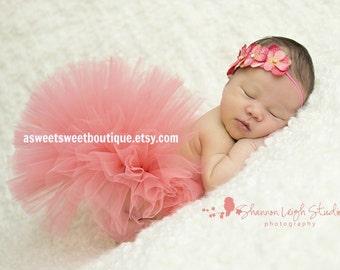 Sweet Coral Tutu Set NewbornTutu Custom Made With Matching Hydrangea Flower Headband Unique Newborn Photo Prop