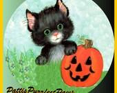 1 1/2 Fabric Cat Button Halloween Autumn Fab Fall Pumpkin Patch Black Cat Laughing Orange
