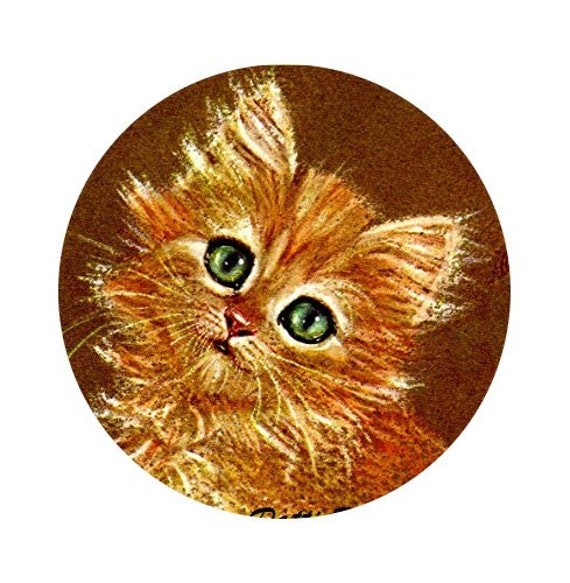 1 1/2 Fabric Cat Button - GINGER SNAP Kitten Autumn Fall is Here