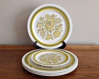 Vintage Noritake Craftone 4 Rumba Dinner Plates