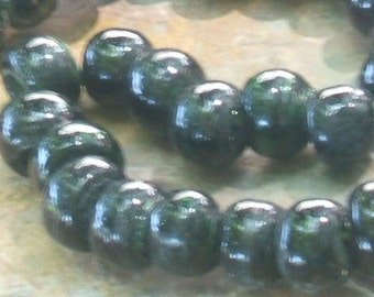 VIntage Glass Beads. BLACK lampwork INdia 1960s 9x12 chubby rondell 3mm hole(12)