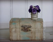 ON SALE Joyful Girl Gypsy Heart Shabby Chic Lati Sized Wooden Trunk Toy Chest