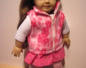 18 Inch Doll Clothes Fleece Vest Pink and White Zippered Warm Marble Winter Clothes
