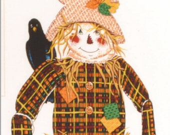 Scarecrow Panel Scarecrow Craft Panel Patches the Scarecrow Halloween Panel Autumn Craft Panel Door Hanging Panel by Springmaid Collectables