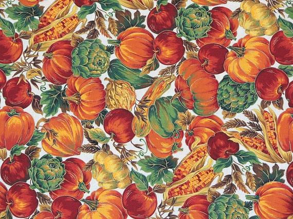 Fabric Pumpkin Fabric Cotton Fabric Halloween Fabric Fall Fabric VIP Print by Joan Messmore Cranston Print Works Co. Autumn Fabric 1 Yard