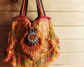 Hippie Fringe purse bag // tribal // ethnic // embroidery bag // red // gypsy // boho // slouchy // textile // handbag