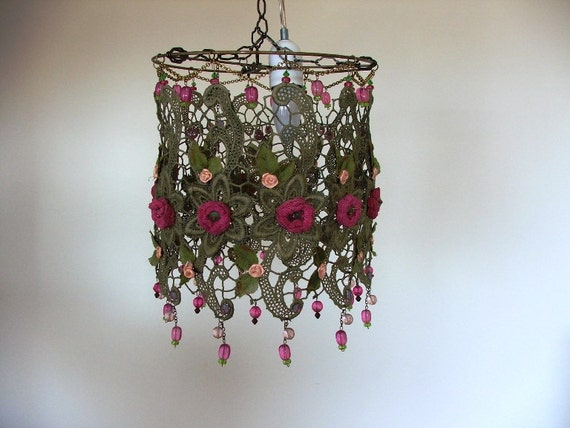 Small Flowers in a Golden Lace Handmade Ceiling Lighting