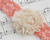 Lace Headband, Flower Headband, shabby chic rose Headband, a great New Baby Photo Prop Idea from Cwtch Bugs