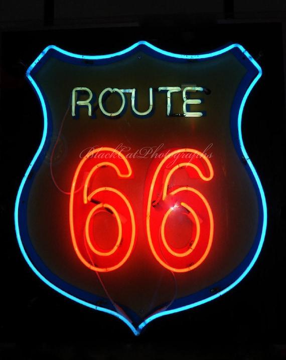 Neon sign photo print, Route 66 sign photograph bright red and black retro wall decor, vintage style decor, Retro wall art, American culture