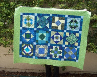 Quilt, Emerald and Sapphire Geometric 12 Square Quilt, Machine quilted, Jewel tone green comforter