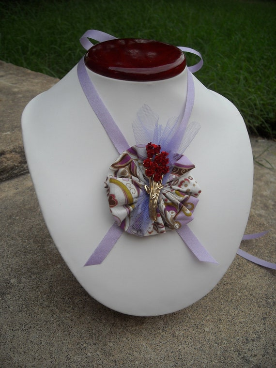 Old-Fashioned Ribbon and Brooch Tea Party Necklace Red Rose Purple Tulle