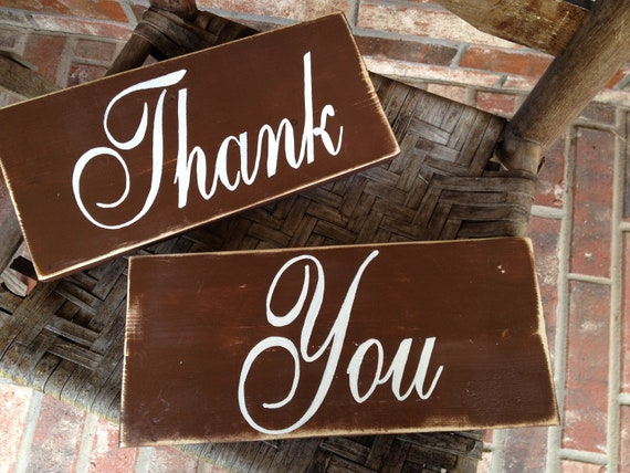 Rustic Brown and Ivory Thank You Wedding Sign Props