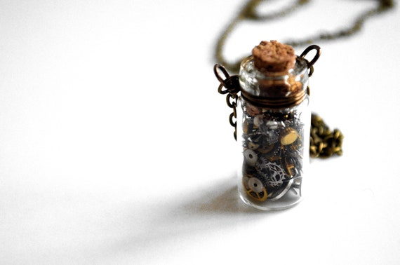 Lost In Time Steampunk Vintage Gears and Watch Parts Necklace
