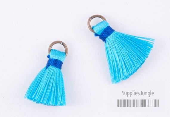 T002-RA-LB// Light Blue, Blue Turquise Rayon Tassel Pendant, 4pcs, 23mm