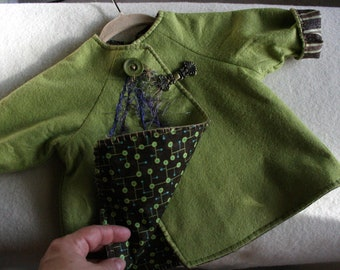 Wool felt baby jacket- moss green- lined- furry yarn couched embellishment-brass frog clasp