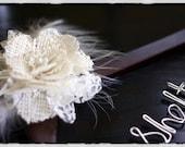 RUSH- Walnut Wedding Dress Hanger w/ Lace and Burlap Flower