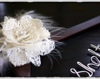 Walnut Wedding Dress Hanger w/ Lace and Burlap Flower