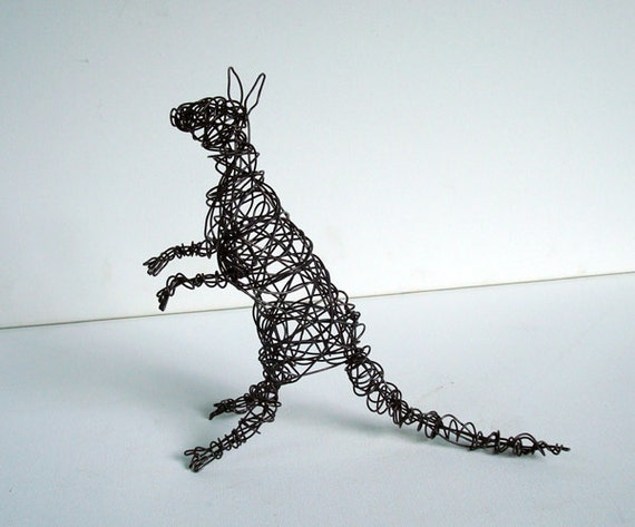 KANGAROO - One of a Kind Wire Animal Sculpture- All Sculpture Ships FREE in the USA