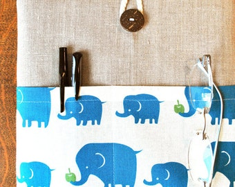11 inch laptop  Macbook Mac book Air Cover  Padded Case Sleeve - Linen with Kokka Linen Blue Elephant Fabric Pocket laptop covers laptop bag