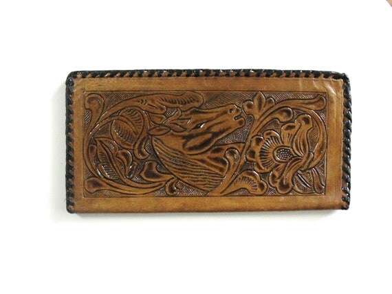 Vintage Tooled  Leather Wallet Made in Mexico Unused