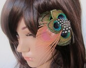 Natural Peacock Feather Barrette fascinator hair clip