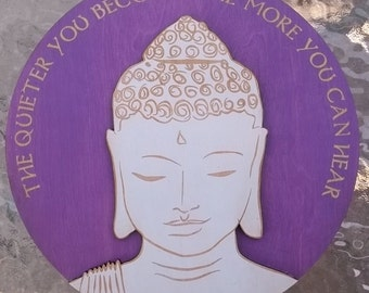 Quiet Buddha Wall Art- Purple