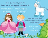 Princess Birthday Invitation Prince Unicorn Dragon Frog - Custom You Print or Email