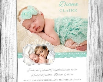 Baby Birth Announcement Boy or Girl and Sibling Printable Digital File