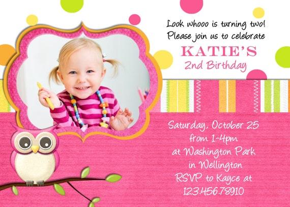 Hot Pink Owl Birthday Invitation