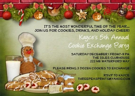 Christmas Cookie Exchange Swap Party Invitation Custom Printable