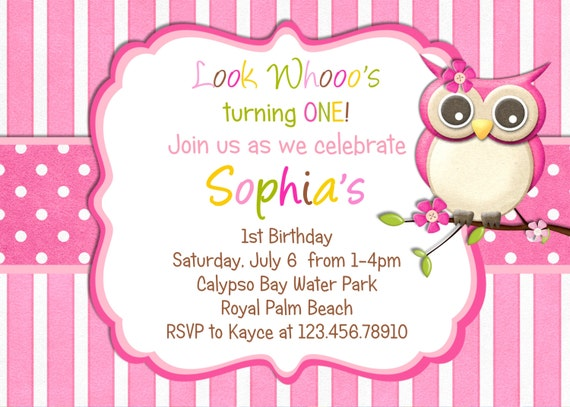 items similar to little owl birthday invitation  pink girl owl, Birthday invitations
