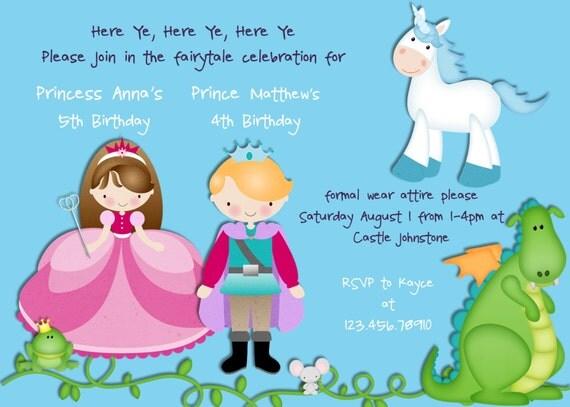 Items similar to Prince Princess Birthday Invitation Princess – Prince Party Invitations