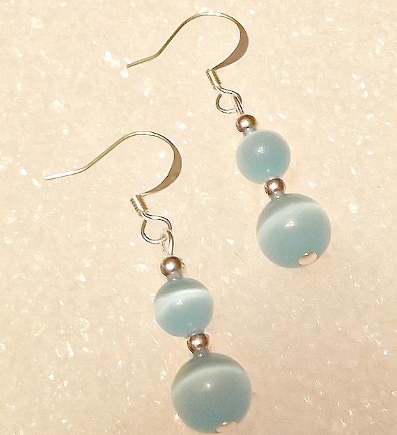 Turquoise Blue Cats Eye Earrings