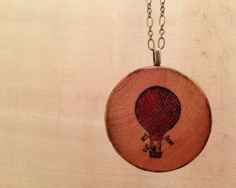 Hot Air Balloon: Wood Pendant Necklace // Antique Bronze Long Chain // Gift for Her