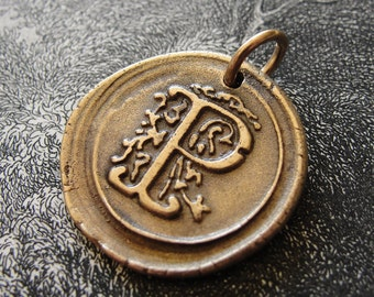 Wax Seal Charm Initial P - wax seal jewelry pendant alphabet charms Letter P by RQP Studio