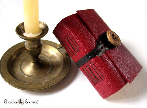 Travel Journal, Red Burgundy Leather, Pocket MEDITATIO