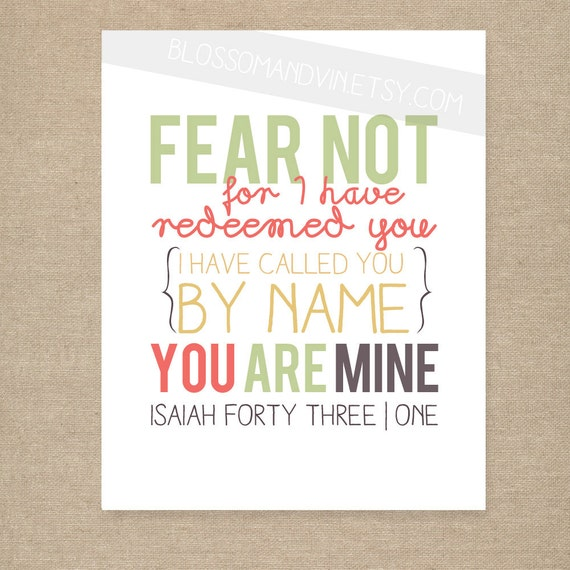 "INSTANT DOWNLOAD - Scripture Print for the wall - ""Fear Not"" Isaiah 43:1 - yellow, green, coral, purple 8x10 bible verse wall art decor"