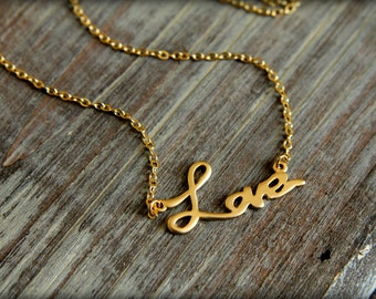Written Love Necklace, Available in Matte Silver or Gold