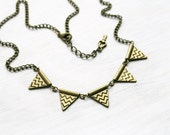 "Reserved. Chevron Bunting flag necklace bronze chain 20""  Vintage antique brass necklace Ready to ship  Bronze flags necklace"