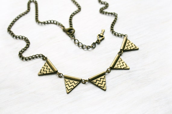 """Reserved. Chevron Bunting flag necklace bronze chain 20""""  Vintage antique brass necklace Ready to ship  Bronze flags necklace"""