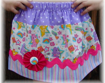 Girls Skirt Custom in...Carebears...Available in 0-12mon,1/2,3/4,5/6,7/8, 9/10 Bigger Sizes Available
