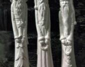 3 Old fashion Pencil Santas, vintage Santa, stick santa, christmas decoration,Kimple,wood carved santa,Ceramic bisque,ready to paint,u-paint
