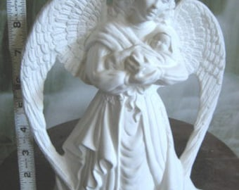 Gorgeous, Angel with baby, Holy Angel,Religious Statue,Angel and Jesus,Christmas Angel,Decoration,Ready to paint,u-paint, ceramic bisque