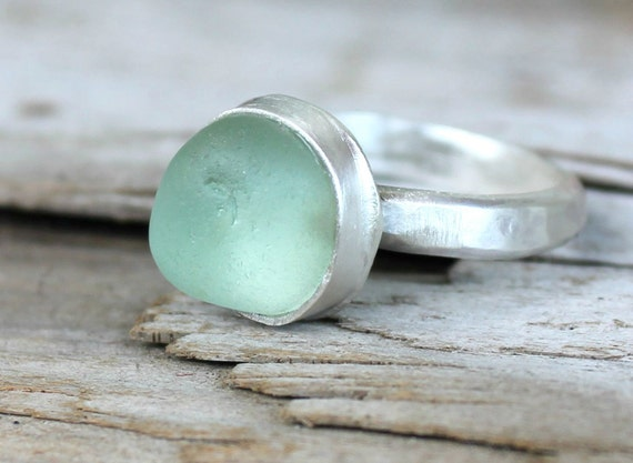 sea glass ring, aqua blue authentic sea glass jewelry, sterling silver jewelry handmade, size 6 (uk/aus m)
