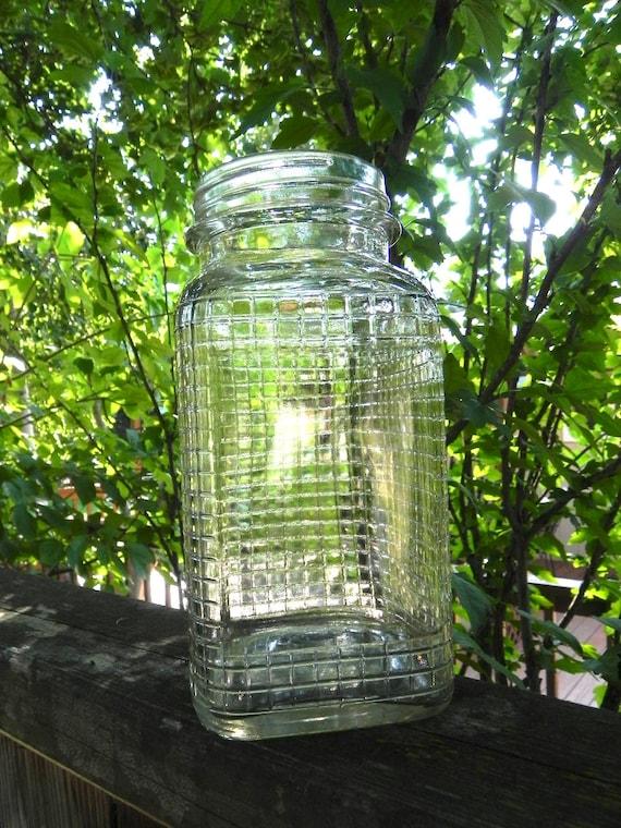 Vintage Square Quart Mason Jar with Grid Pattern