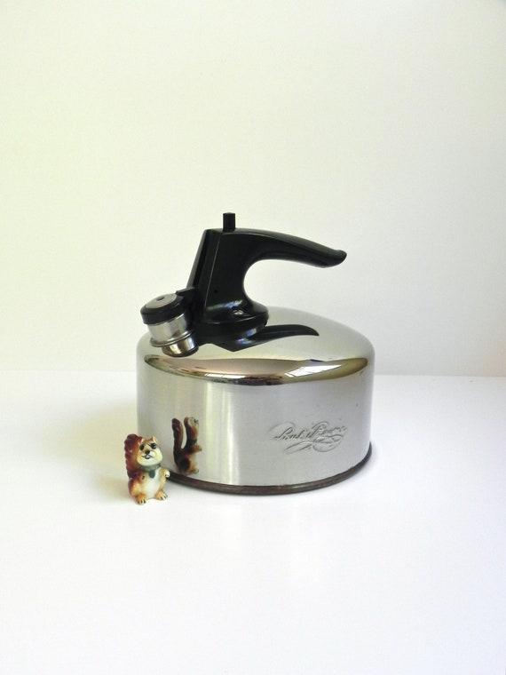 Vintage Revere Ware 4 Cup Whistling Tea Kettle... Classic Retro Kitchen... Copper Bottom Tea Kettle